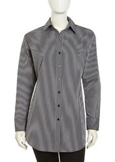 Go Silk Long-Sleeve Striped Poplin Blouse, Black