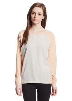 Calvin Klein Jeans Women's Long-Sleeve Woven-Front Sweatshirt