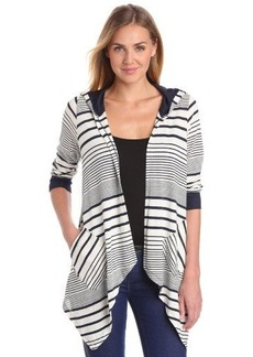 Democracy Women's Mixed Stripe Cardigan with Hood