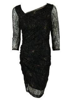Andrew Marc Womens Metallic Lace 3/4 Sheath Dress