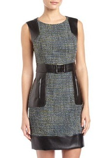 Laundry by Shelli Segal Tweed & Faux-Leather Belted Dress, Blue Jewel
