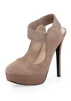 Pelle Moda Hall Suede & Snakeskin-Leather Pump, Taupe Dark