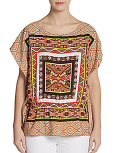 Ellen Tracy Scarf-Print Cap-Sleeve Top
