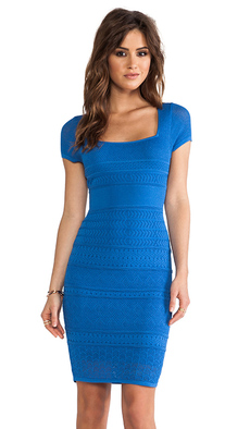 Catherine Malandrino Pointelle Shift Dress in Blue