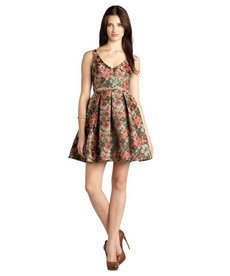 A.B.S. by Allen Schwartz red and pink floral jacquard belted v-neck fit and flare dress