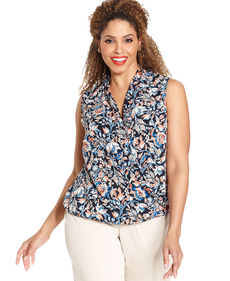 Jones New York Signature Plus Size Sleeveless Floral-Print Faux-Wrap Top