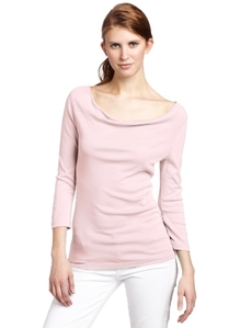 Three Dots Women's 1X1 Cotton Modal 3/4 Sleeve Cowl Neck Top