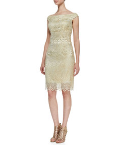Kay Unger New York Off-Shoulder Lace Cocktail Dress, Butter