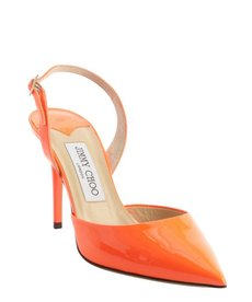 Jimmy Choo neon flame leather pointed toe sling back 'Tilly' pumps