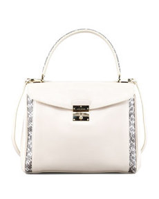 Grand Metropolitan Snake-Trimmed Satchel Bag, Milk   Grand Metropolitan Snake-Trimmed Satchel Bag, Milk
