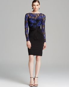 David Meister Dress - Lace Illusion Neck Tattoo