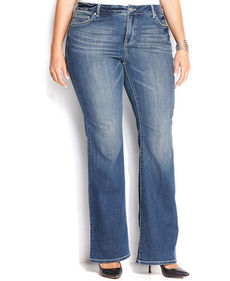INC International Concepts Plus Size Bootcut Jeans, Medium Blue Wash