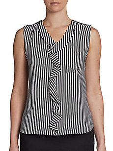 Calvin Klein Ruffled Striped Blouse