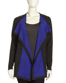 Lafayette 148 New York Fine Gauge Contrast-Front Cardigan, Smoke/Blue