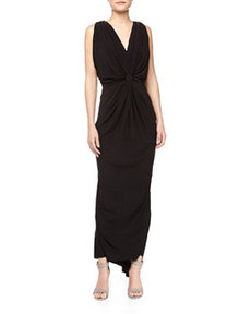 T Bags Knot-Front V Back Maxi Dress, Black