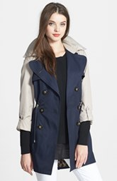 Laundry by Shelli Segal Two-Tone Double Breasted Anorak