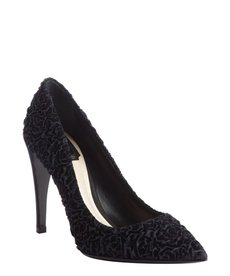 Christian Dior navy and black velvet pumps