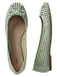 Perforated suede ballet flats