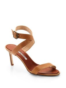 Manolo Blahnik Lecara Leather Single-Strap Sandals