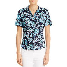 Short Sleeve Floral Cotton Camp Shirt