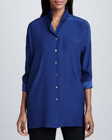 Lafayette 148 New York Blue Silk Selma Blouse