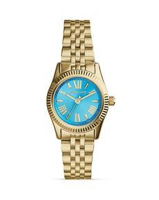 Michael Kors Mini Gold-Tone & Blue Lexington Three-Hand Watch, 26mm