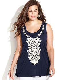 INC International Concepts Plus Size Embroidered Sleeveless Top