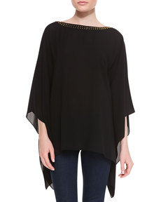 Michael Kors Stud-Neck Silk Tunic