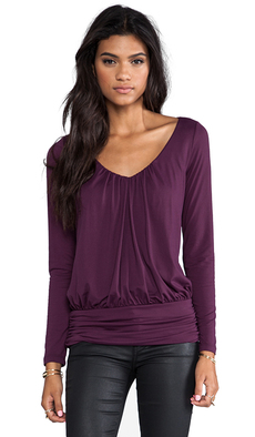 "Susana Monaco Light Supplex Long Sleeve 10"" Top in Wine"