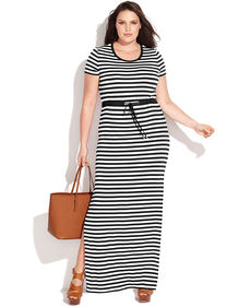 MICHAEL Michael Kors Plus Size Short-Sleeve Striped Maxi Dress