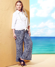 Charter Club Plus Size Paisley-Print Wide-Leg Soft Pants