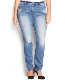INC International Concepts Plus Size Straight-Leg Jeans, Medium Blue Wash