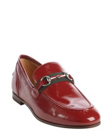 Gucci rose bed patent leather signature buckle horsebit loafers