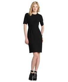Burberry black seamed cotton blend short sleeve dress