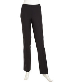 Lafayette 148 New York Flat Stretch Wool Pants, Black