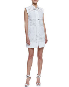 Voile Eyelet Cap-Sleeve Shirtdress   Voile Eyelet Cap-Sleeve Shirtdress