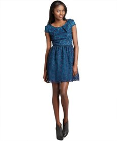 A.B.S. by Allen Schwartz navy floral lace cap sleeve dress