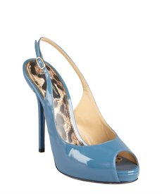 Dolce & Gabbana cadet blue patent leather peep toe platforms