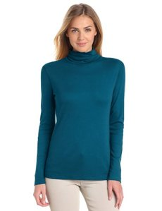Three Dots Red Women's Long Sleeve Turtleneck
