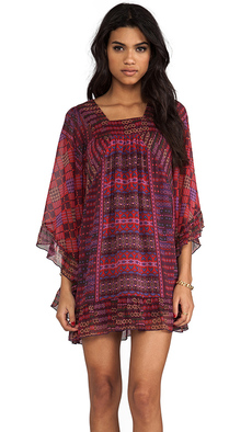 Anna Sui Patchwork Print Dress in Wine