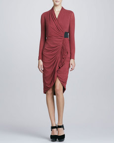 Kay Unger New York Front-Wrap Jersey Dress, Rust