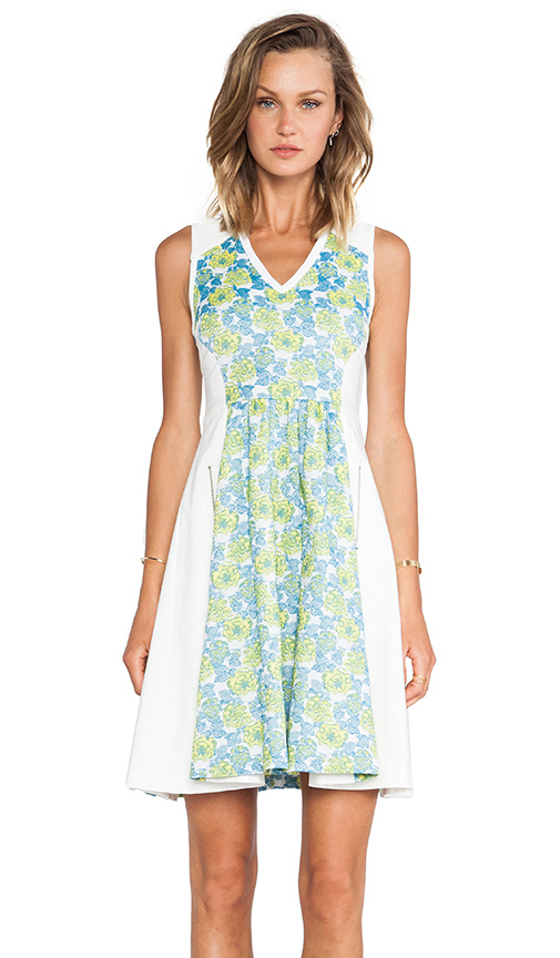 Tracy Reese Floral Jacquard Neoprene Frock Dress in Blue