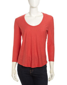 James Perse Soft V-Neck Slub Tee, Rouge