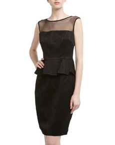 David Meister Sleeveless Jacquard Peplum Cocktail Dress, Black
