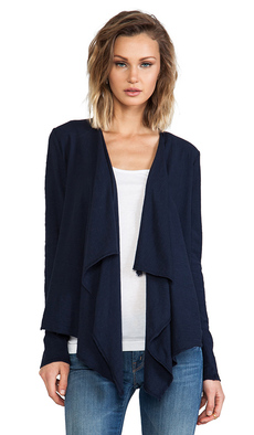 Michael Stars Long Sleeve Cascade Front Cardigan in Navy