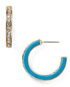ABS by Allen Schwartz Enamel & Pave Small Hoop Earrings