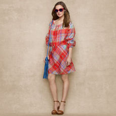Plaid Silk Organza Dress