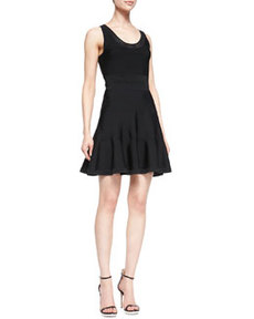 Perry Sleeveless Fit-and-Flare Dress, Black   Perry Sleeveless Fit-and-Flare Dress, Black