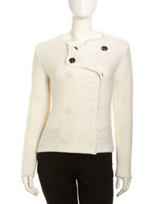 Robert Rodriguez Double-Breasted Crochet Sweater, Ivory