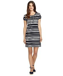 Stripe Keyhole Sleeve Dress